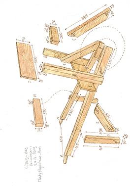 Houten kruiwagen bouwtekening